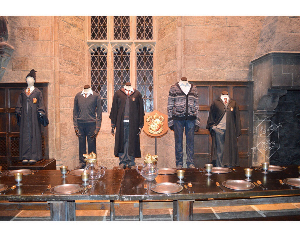 Griffindor uniforms Great Hall Harry Potter studio tours Watford England