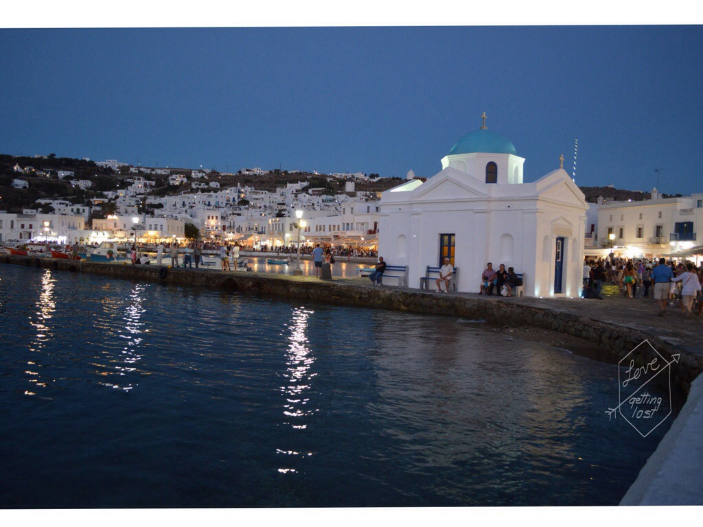 Little Venice Mykonos at Night  Greece