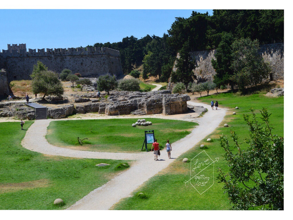 Moat at Medieval Town of Rhodes Greece