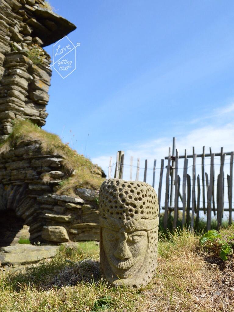 Stone heads at Sinclair Girnigoe Castle, highlands, scotland, united Kingdom