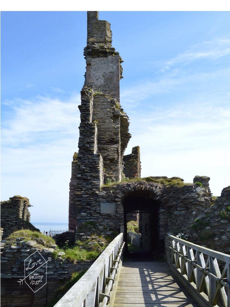 Bridge to entrance of Sinclair Girnigoe Castle, highlands, scotland, united Kingdom
