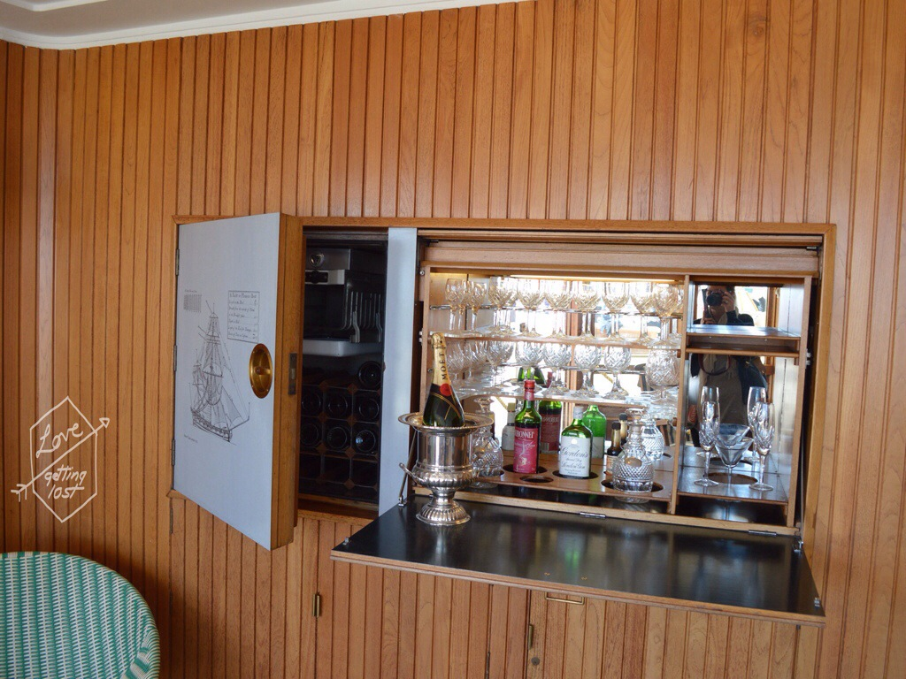 Wall bar, Royal yacht Britannia, Edinburgh, Scotland, United Kingdom