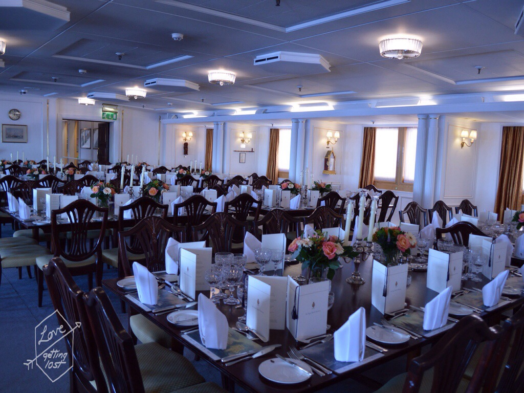 Ball room set up for corporate event, Royal yacht Britannia, Edinburgh, Scotland, United Kingdom