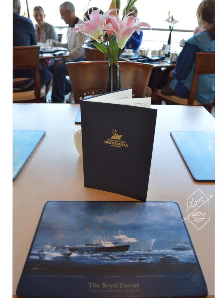 Menu, Royal Yacht Britannia Tea Room, Teak deck, Edinburgh, Scotland, United Kingdom