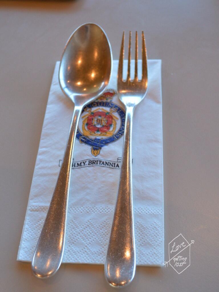 Cutlery, Teak deck, Royal Yacht Britannia Tea Room, Edinburgh, Scotland, United Kingdom