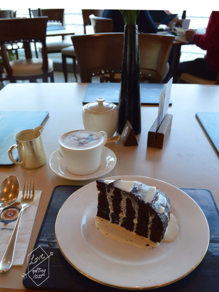 Coffee and cake, Tea Room,Teak Deck, Royal Yacht Britannia, Edinburgh, Scotland, United Kingdom