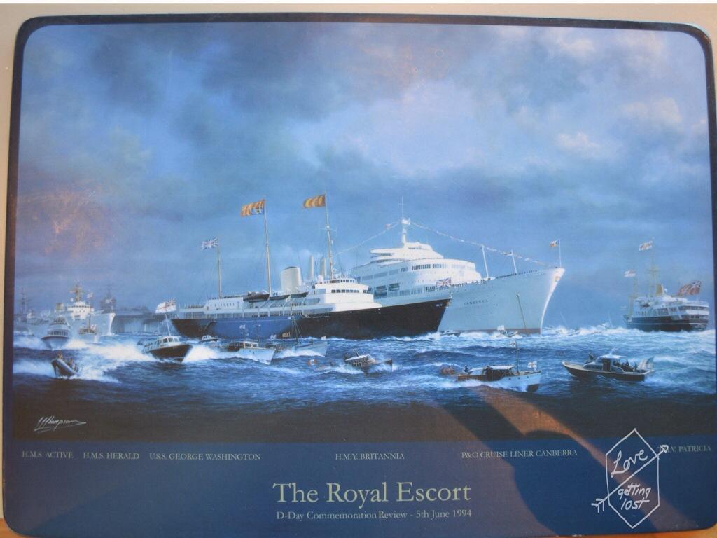 Placemat art, Tea Room,Teak Deck, Royal Yacht Britannia, Edinburgh, Scotland, United Kingdom