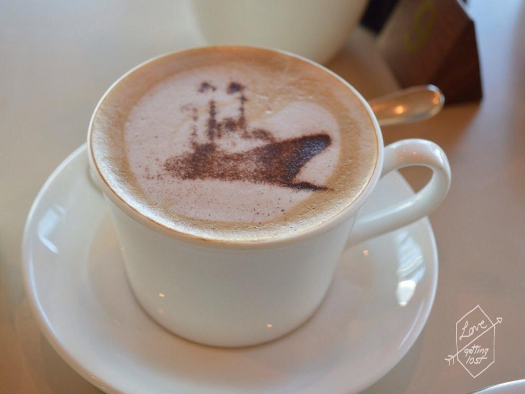 Coffee art, Tea Room,Teak Deck, Royal Yacht Britannia, Edinburgh, Scotland, United Kingdom