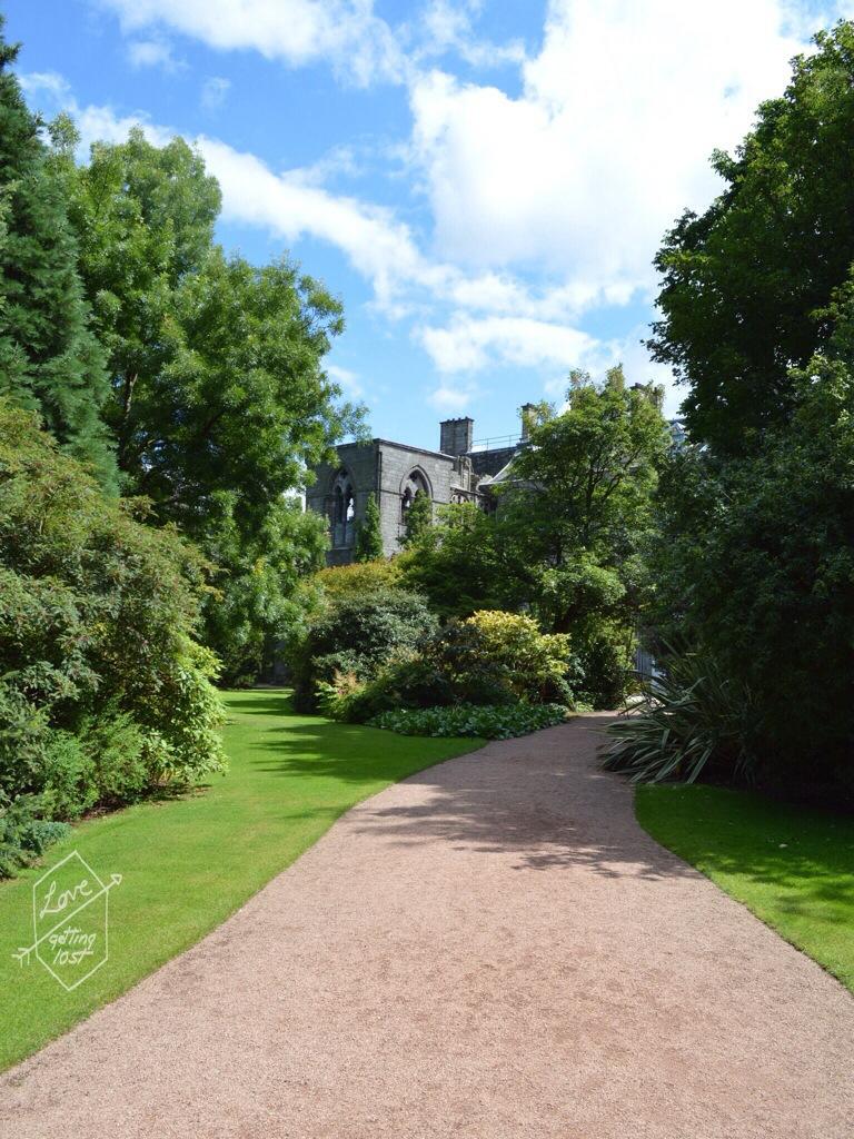 Garden path at Holyrook Gardens , Holyrook palace, edinburg, scotland, united kingdom