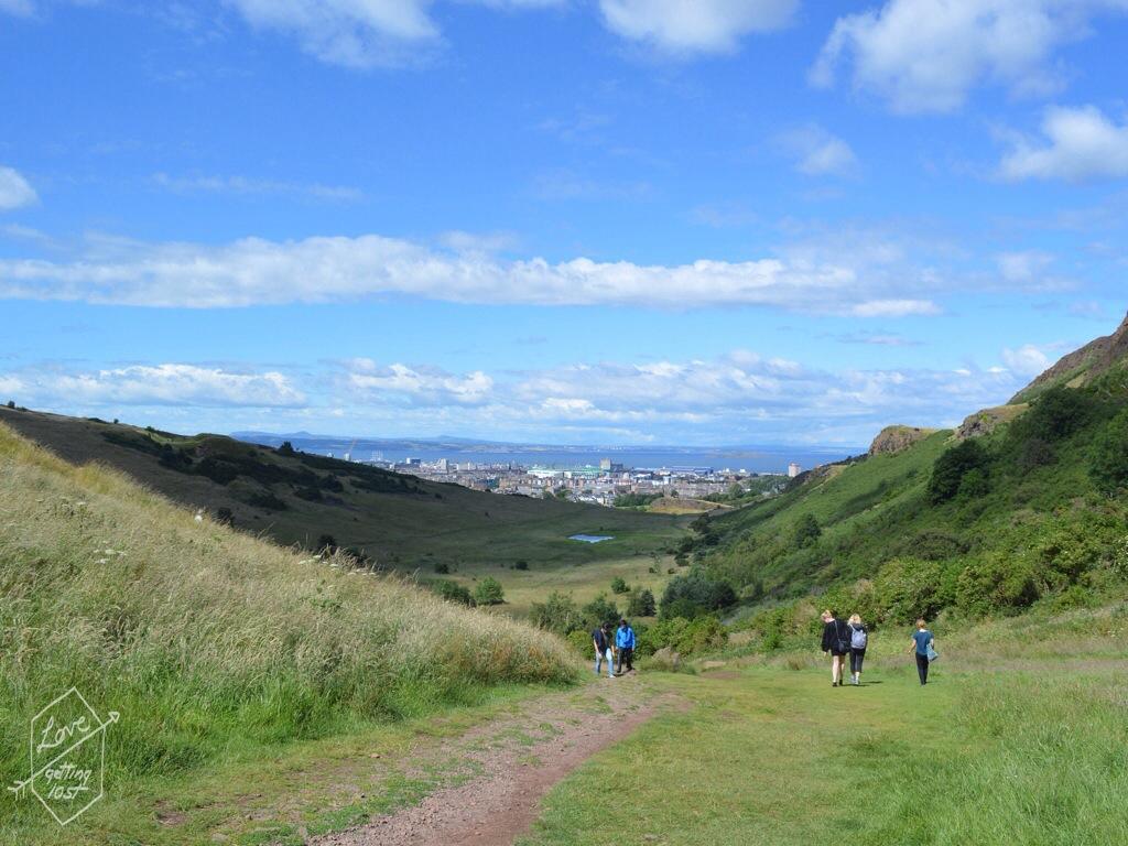 Looking back down the walk to Arthur's seat  , Edinburgh, Scotland, United Kingdom