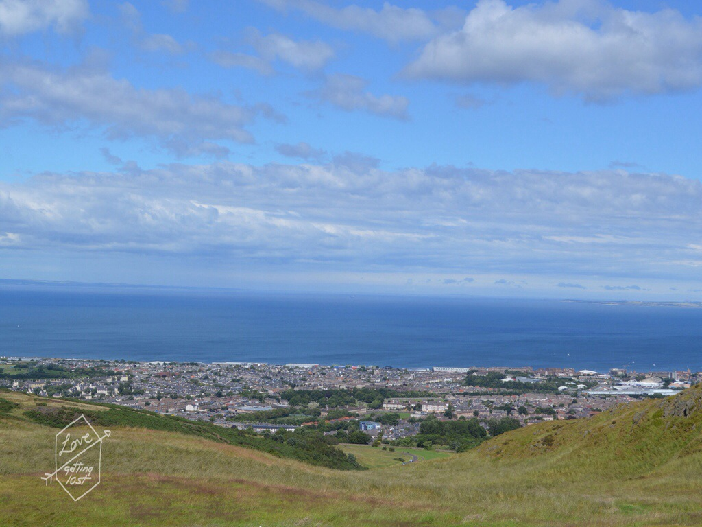 View of the sea from Arthur's seat  , Edinburgh, Scotland, United Kingdom