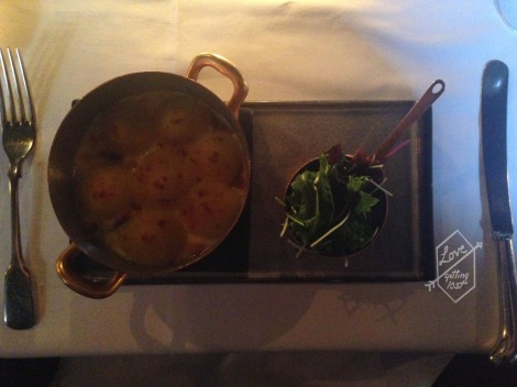 Witchery fish pie, Phantassie farm green salad, The Witchery Restaurant, Edinburgh, Scotland