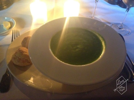 Pea and mint veloute, isle of mull cheddar scones, The Witchery Restaurant, Edinburgh, Scotland