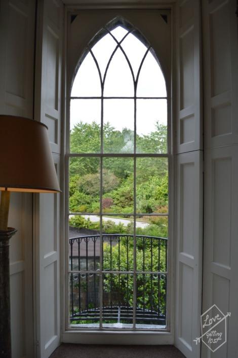 Garden views from tower room window, Inveraray Castle, Inveraray, Scotland